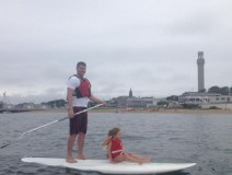 Paddle board yoga Provincetown.  This little girl needed some assistance.  I did the paddling and she participated in the SUP yoga.